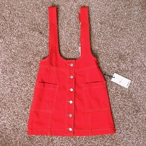 Forever 21 Hot red orange denim overall skirt XS